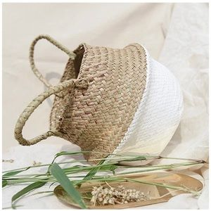 Other - Woven Seagrass Belly Basket for Storage- White
